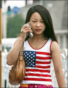 Chinese Woman with US Shirt