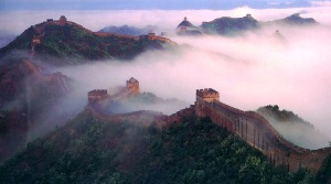 great wall in the mist