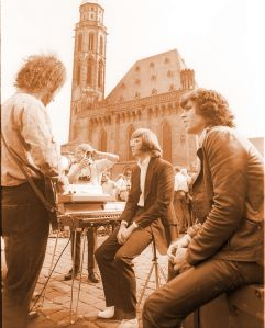 Jim with band mates before show in Germany.